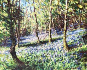 Image of a card painted by Dugald Stark called bluebell fields
