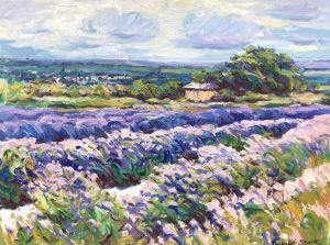 Image of a card painted by Dugald Stark called Lavender Fields